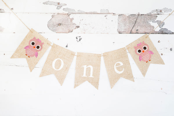 Pink Owl One Banner | First Birthday Party Decorations