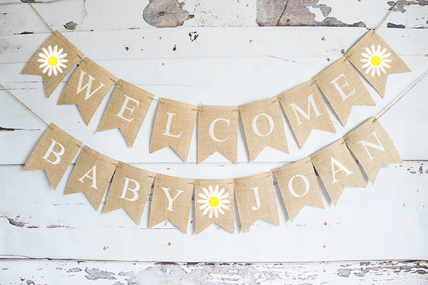 Daisy Welcome Baby Personalized Banner | Flower Baby Shower or Gender Reveal Party Decor