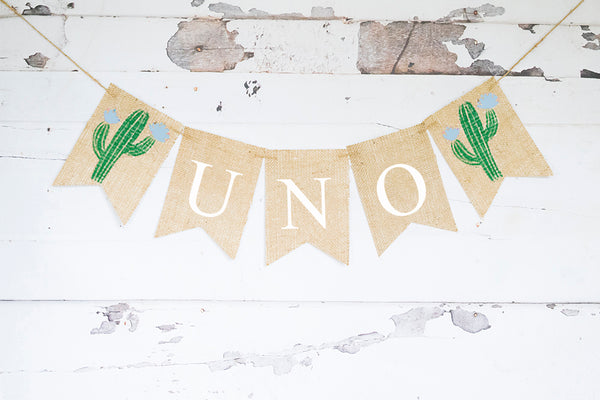 Fiesta Blue Cactus Uno Banner | 1st Birthday Party Decor