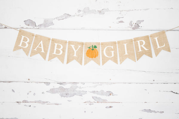 Baby Shower Pumpkin Decor, Baby Girl Banner