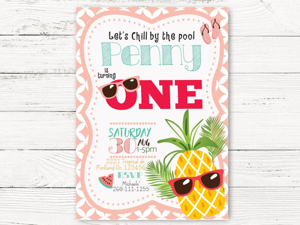 Digital Pineapple Pool Party 1st Birthday Invitation, Summer Party Invite, Pool Birthday Invitation, C125