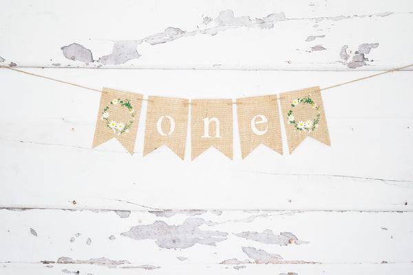 1st Birthday Decor, Floral Wreath One Banner