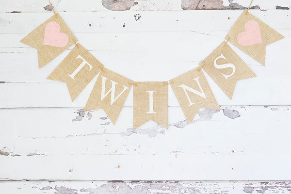 Pink Hearts Twins Banner | Baby Shower or Gender Reveal Party Decor