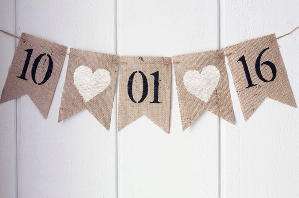 White Heart Save the Date Banner | Engagement or Wedding Decor