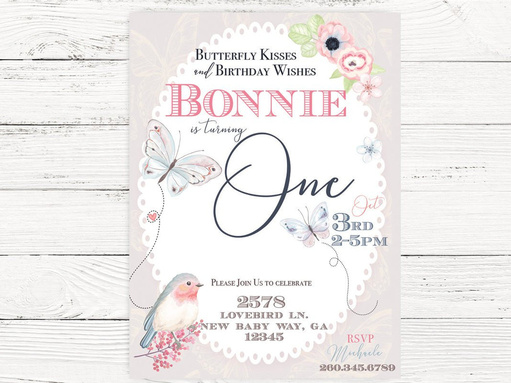 Digital Butterfly First Birthday Invite Themed Swanky Party Box