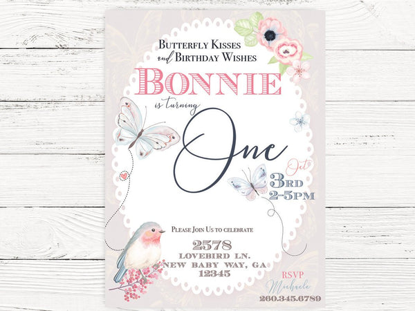 Digital Butterfly First Birthday , Butterfly Invite, Butterfly Themed Party, First Birthday Invitation , C128