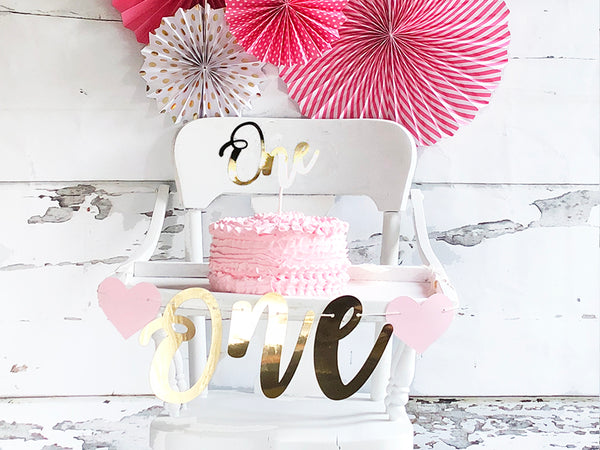 1st Birthday Pink and Gold Banner | First Birthday Decor | High Chair Banner with One Cake Topper