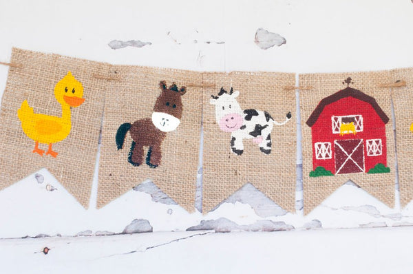 Farm Birthday Party Banner, Farmhouse Barnyard Party Decor, Farmyard Barn Animals, B307