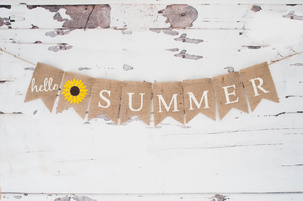 Hello Summer Banner, Summer Decor, Summer Burlap Banner, Summer Sign, B336