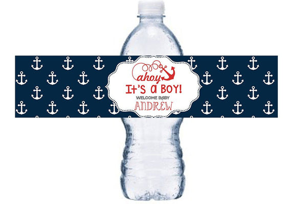 Nautical Party Water Bottle Label, Nautical Bottle Label, Ahoy It's A Boy Bottle Wrap, Anchors Bottle Label,  BL006