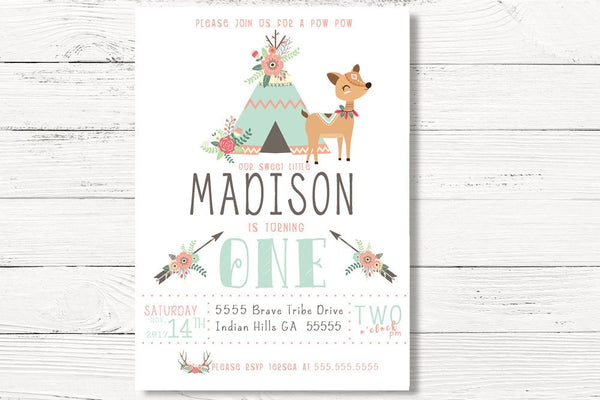 Tribal Birthday Invitation, Wild One Invite, Tee Pee Birthday Party, Woodland Party, Pow Wow Invite,  C017