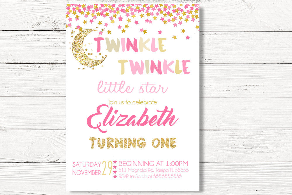 Digital Twinkle Little Star Invitation Invite Pink Gold 1st Birthday