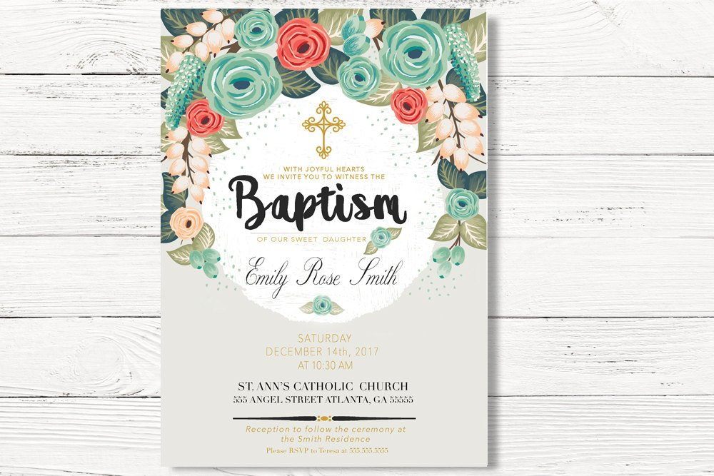 Floral Baptism Invitations Swanky Party Box