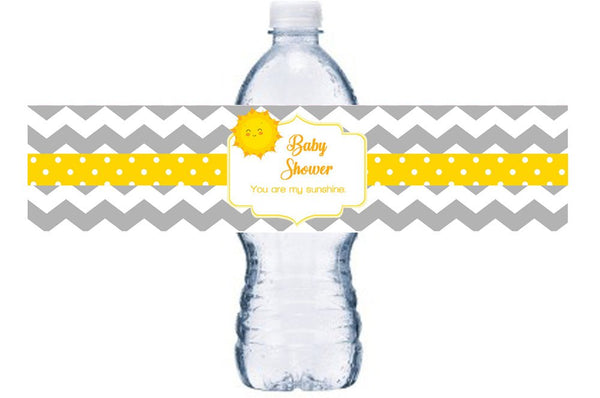 You Are My Sunshine Baby Shower Waterproof Water Bottle Label, Sunshine Bottle Wrap, Sun Waterproof Adhesive Sticker, BL001