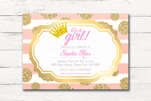 Digital Pink Gold Royal Baby Shower Invitation, It's A Girl Baby Shower Invite, C004