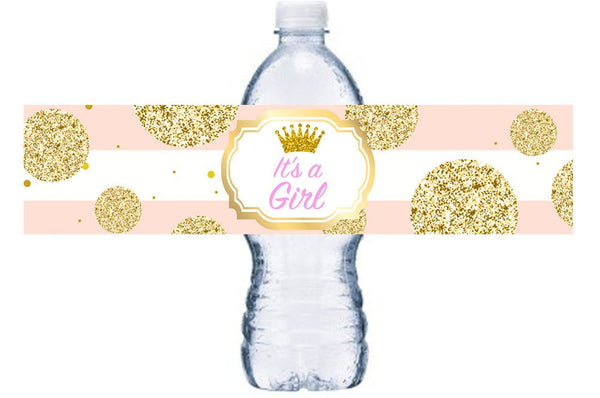 It's A Girl Baby Shower Water Bottle Label, Pink and Gold Baby Shower Decor, Princess Baby Shower Adhesive Bottle Wrap, BL003
