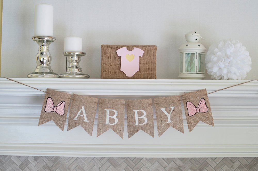 Bow Name Banner, Baby Girl Banner, Baby Shower Decor, Pink Polka Dot Banner, Nursery Decor, B349
