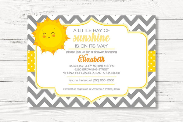 You Are My Sunshine Baby Shower Invitation, Gender Neutral Baby Shower Invite, C002