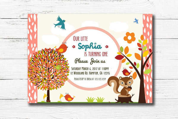 Woodland First Birthday Invitation, Girl Forest Animals Invite, Girl Woodland Birthday Party, C011