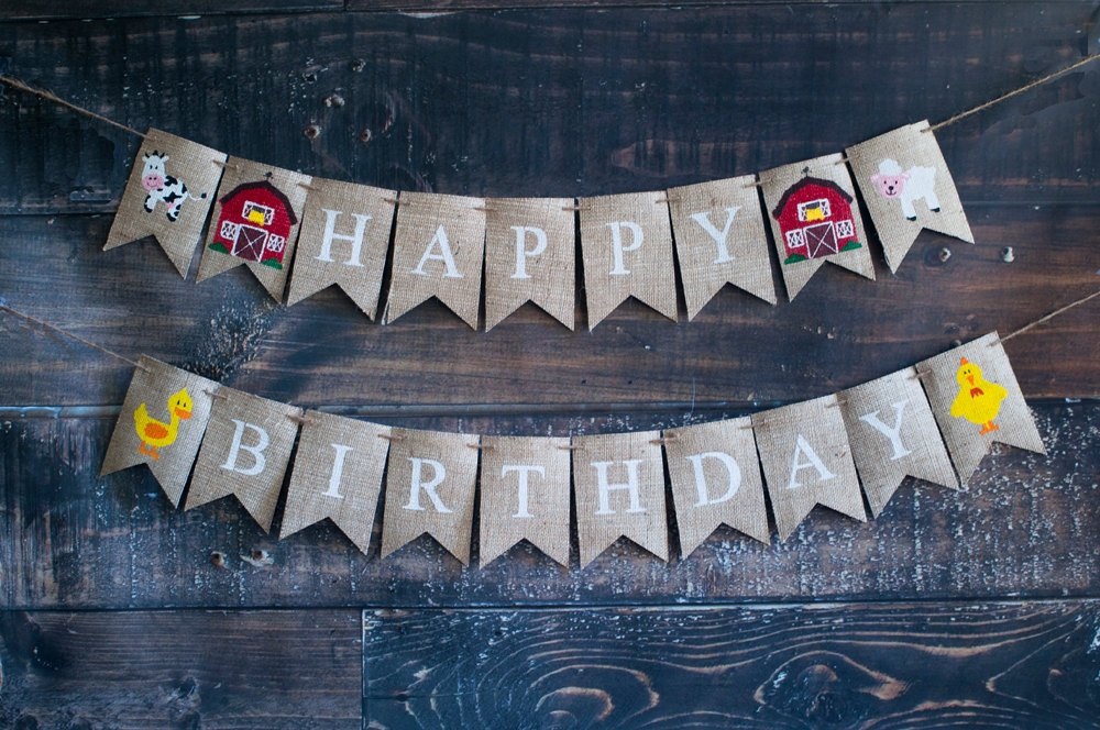 Barn Theme Happy Birthday Banner, Farm Party Banner, Farm Animal Happy Birthday Banner, B365