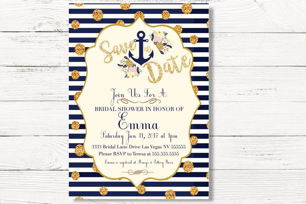 Digital Nautical Bridal Shower Invitation, Nautical Save The Date Invitation, Nautical Invitation, Tying the Knot Invite,  C019