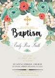 Baptism Invitation, Floral Baptism Invite, First Holy Communion Invite, Flowers Christening Religious Card, C023