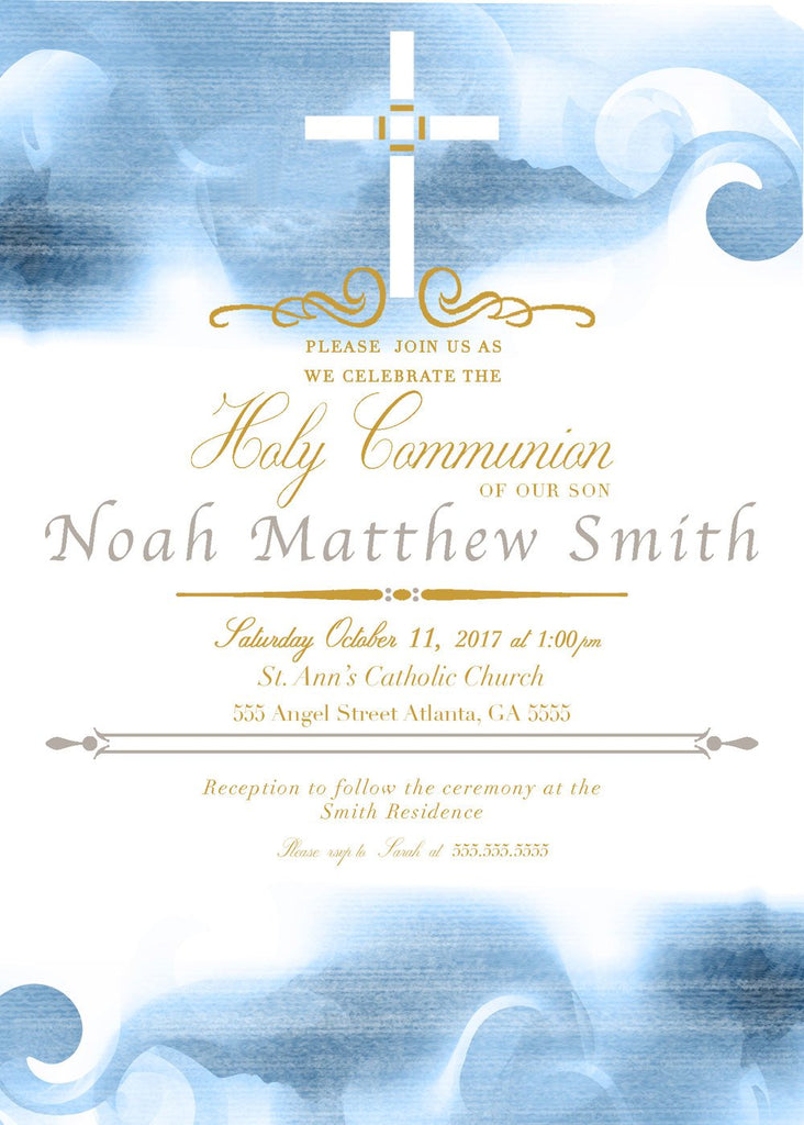 First Holy Communion Invitation, Boy's Baptism Invite, Blue Christening Religious Card, C025
