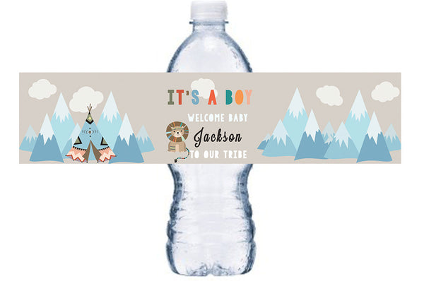 Tribal Baby Shower Water Bottle Labels, Tepee Bottle Wrap, Baby Shower Waterproof Adhesive Stickers, Tribe Theme Baby Shower, BL017