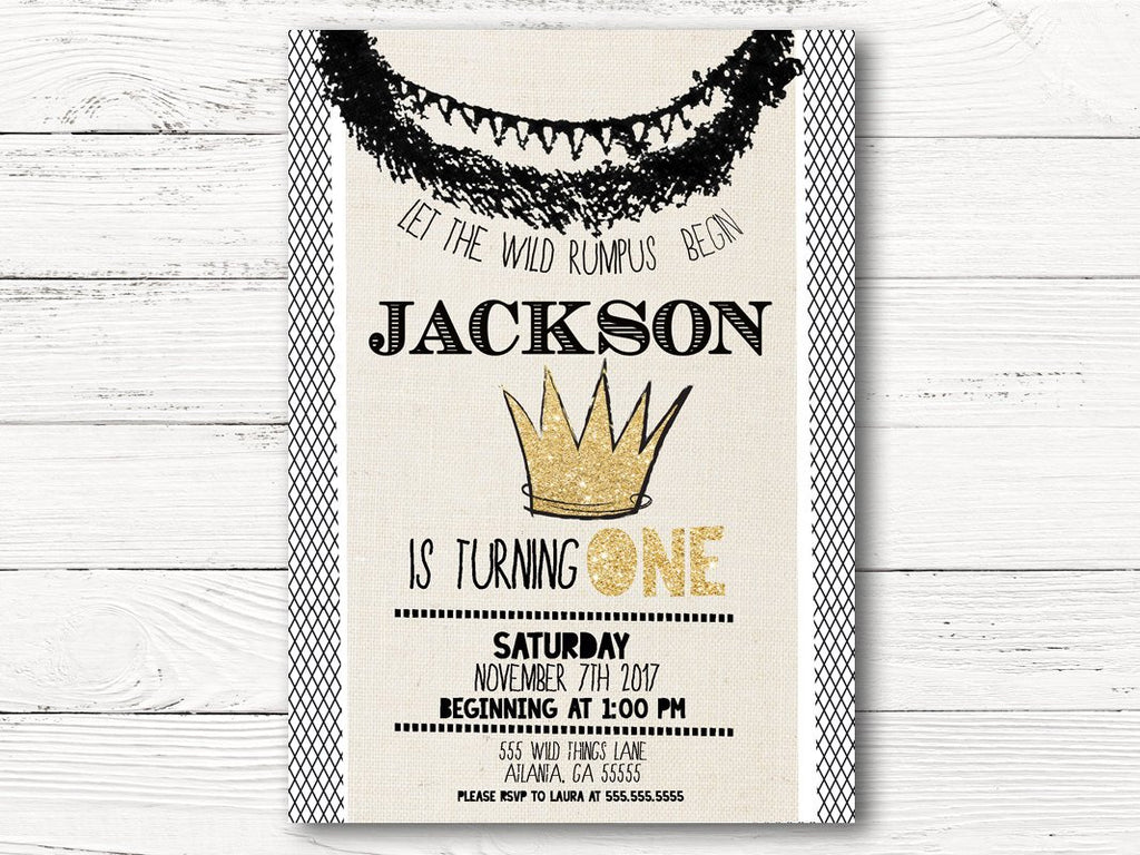 Wild Kingdom First Birthday Invitations Boy King Theme Kings Crown Invitation