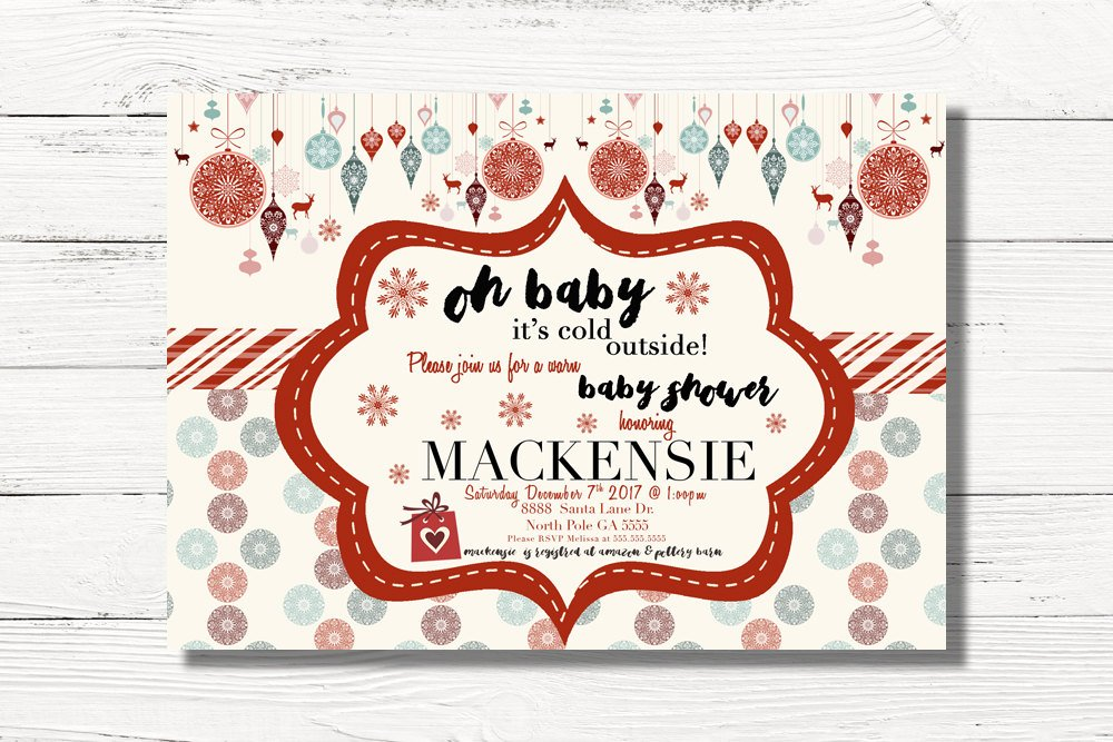 Digital Christmas Baby Shower Invitation, Xmas Baby Shower Invites, Festive Holiday Baby Shower Invites, Christmas Theme Baby Shower, C030