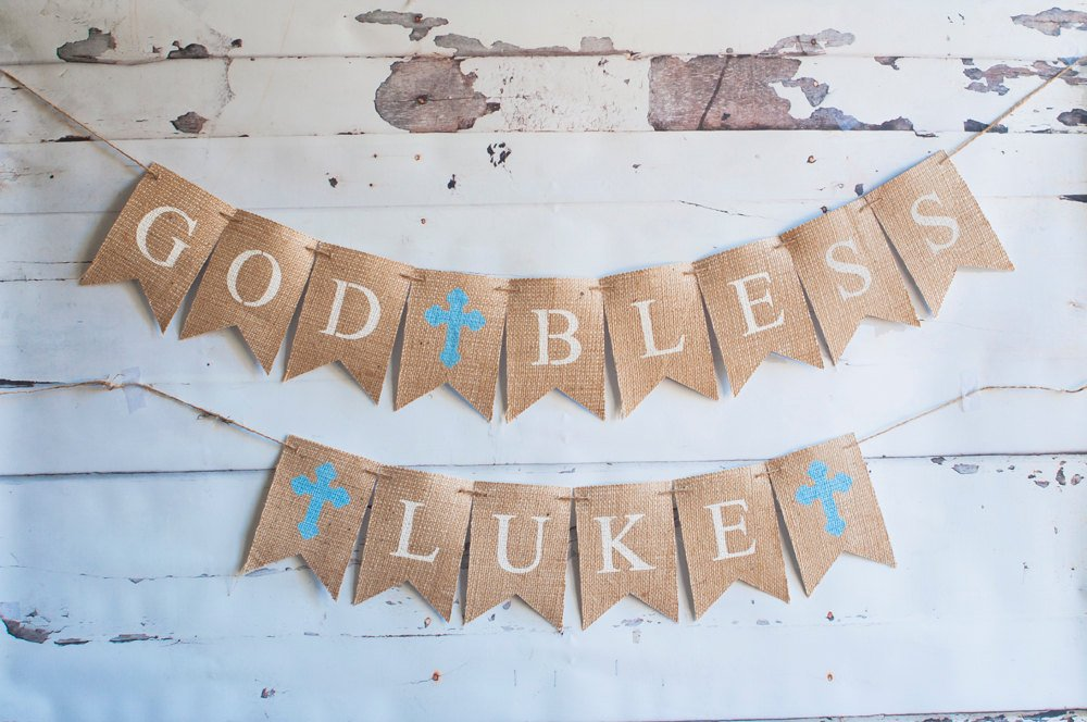First Communion Banner, Confirmation Sign, Personalized Custom Baptism Banner, God Bless Christening Garland, Religious Bunting, B169