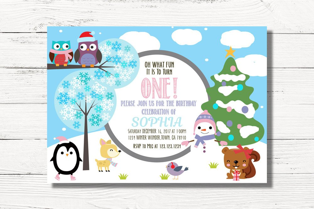 Christmas Birthday Party Invitations.Pink 1st Birthday Christmas Invitations
