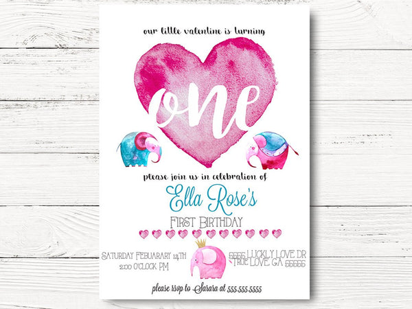 Digital First Birthday Party, Elephant First Birthday Invitation, Valentine 1st Birthday Invites, Elephant 1st Birthday Invitation, C037