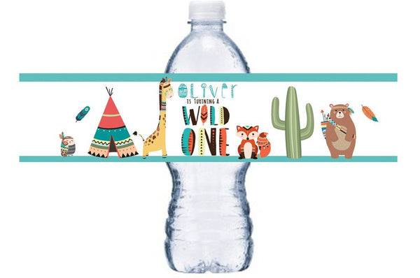 Tribal Bottle Label, Wild One Bottle Label, Brave Little One Bottle Wrap,  BL008
