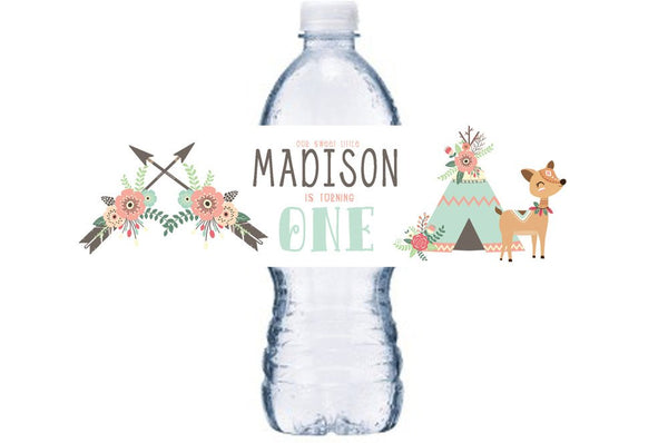 Girl's Tribal Bottle Label, Tribal Baby Shower, Deer Bottle Wrap,  BL009