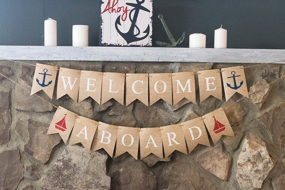 Nautical Baby Shower Decor, Welcome Aboard Nautical Banner, Sailboat and Anchor Garland, B446