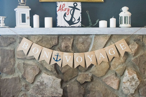 Bon Voyage Banner, Nautical Going Away Party Decor, Nautical Bon Voyage Sign, Travel Party, Going Away Party, B462