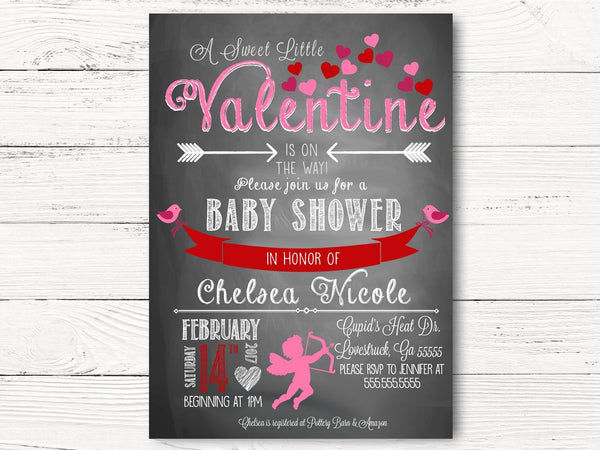 Valentine's Baby Shower Invitation, Cupid Baby Shower Invitations, Valentine's Baby Shower Party Cards, Baby Shower Invitations, C036