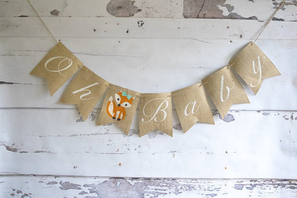 Woodland Baby Shower Decor, Fox Baby Shower Decor, Girly Fox Baby Shower Banner, Gender Reveal Banner, Oh Baby Banner, B1075