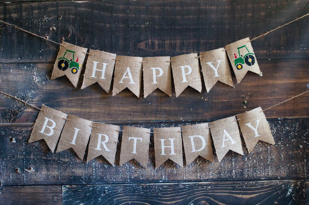 Tractor Happy Birthday Banner, Barn Theme Happy Birthday Banner, Farm Party Banner, Farm Animal Happy Birthday Banner, B383