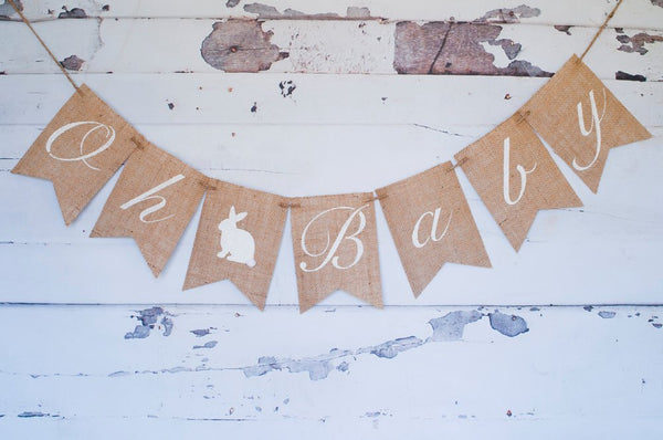 Easter Baby Shower Decoration, Easter Gender Reveal Banner, Oh Baby Banner, Easter Baby Shower Banner, B188