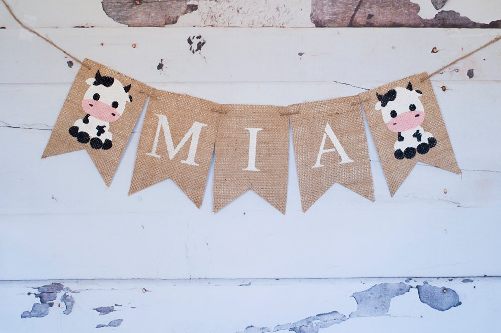 farm decor baby cow personalized banner swanky party box