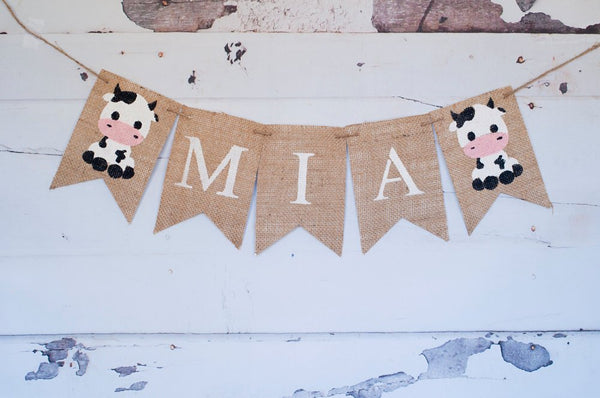 Baby Cow Name Banner, Farm Party Decor, Farm Baby Shower Banner, Farm Banner, Customized Name Banner, Farm Cow Decoration, B406