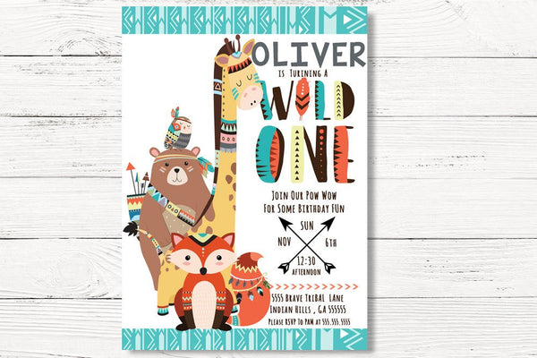 Wild One Invitation, Tribal Birthday Invitation, Wild One Invite, Tee Pee Birthday Party, Woodland Party, Pow Wow Invite,  C018