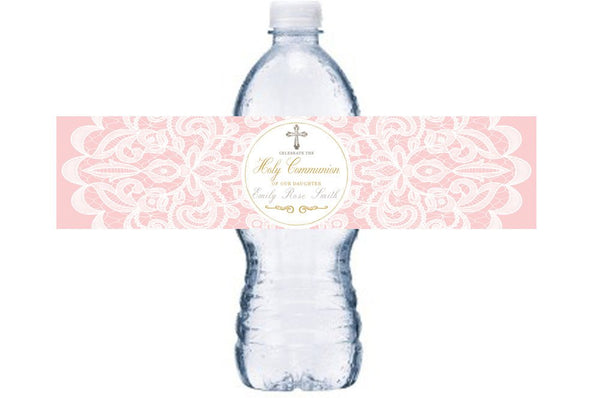 Girl's Pink Holy Communion Water Bottle Label, Girl Communion Bottle Wrap, Pink Holy Communion Waterproof Adhesive Bottle Wraps, BL016