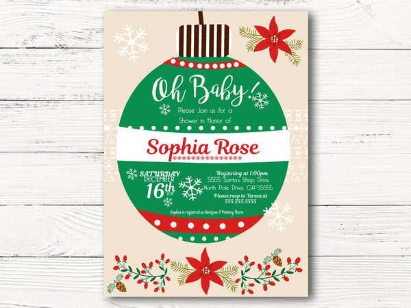 Christmas Baby Shower Invitation, Ornament Baby Shower Invitations, Holiday Baby Shower Invitations, Christmas Theme Baby Shower, C029