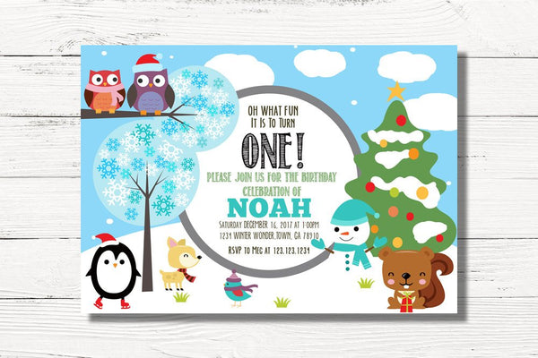 Digital First Birthday Party Invitation, 1st Birthday Invitations, 1st Birthday Christmas Invitations, Boy First Birthday Invitations, C033