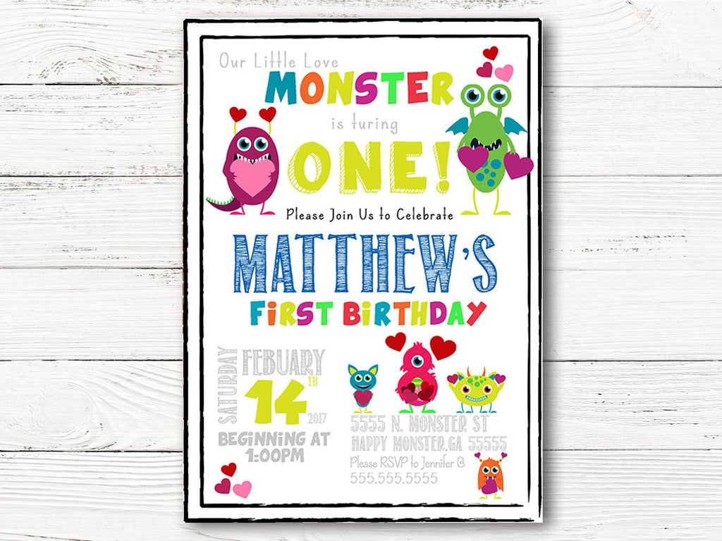 First Birthday Invitations, Monster First Birthday Invitation, Monster 1st Birthday Party Invitations, 1st Birthday Monster Invitation, C035
