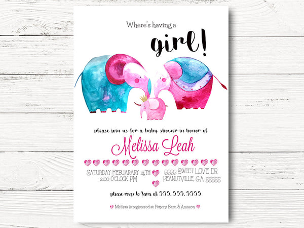 First Birthday Party Cards, Girl 1st Birthday Invitation, Valentine 1st Birthday Invitations, Girl Elephant 1st Birthday Invitations, C038