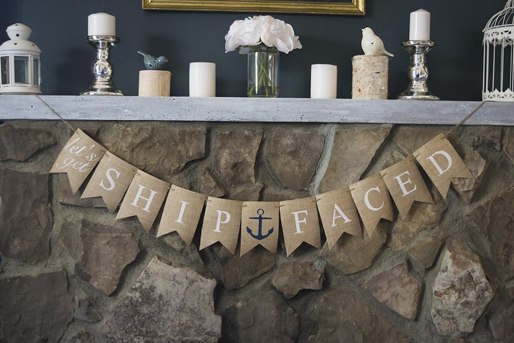Nautical Bridal Shower Decor, Let's Get Ship Faced Banner, Nautical Bachelorette Decor, Bachelorette Party Banner, Bridal Shower Sign, B516